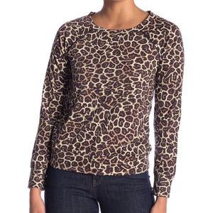 Love, Fire Holey Leopard Patterned Sweatshirt